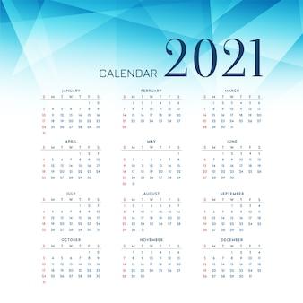 Design de calendário azul poligonal de ano novo 2021