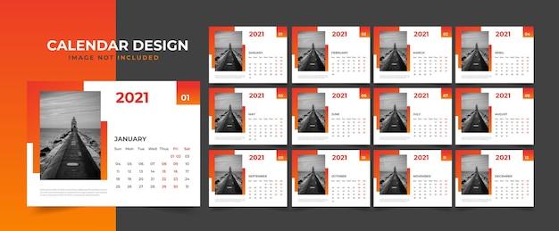 Design de calendário de mesa limpo e minimalista 2021