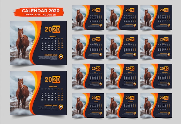 Design de calendário de mesa moderna 2020