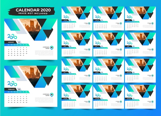 Design de calendário de mesa simples gradiente 2020