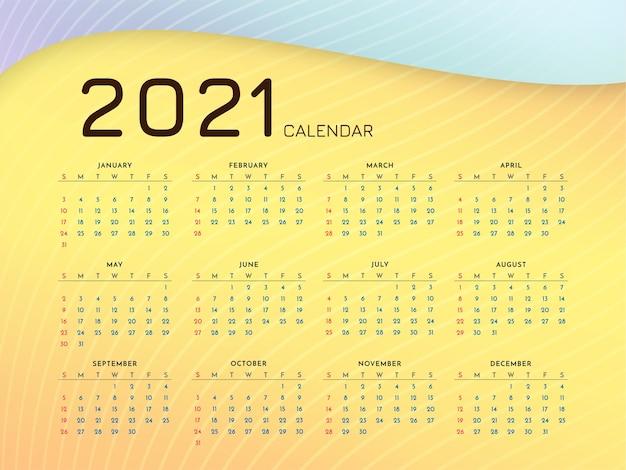 Design de calendário moderno de ano novo de 2021