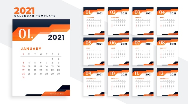 Design de calendário moderno do ano 2021 em tema laranja