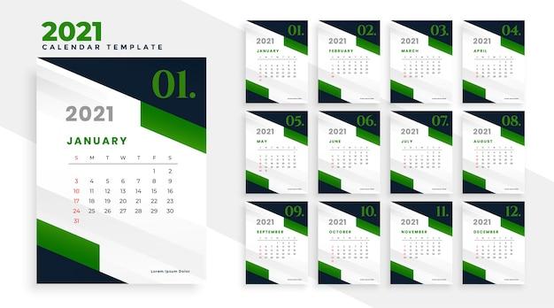 Design de calendário verde de ano novo de 2021 em estilo empresarial