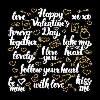 Design de caligrafia de dia dos namorados. ilustração em vetor de letras de férias de amor.
