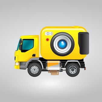 Design de câmera de caminhão amarelo