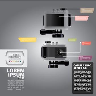 Design de câmera de foto infográfico