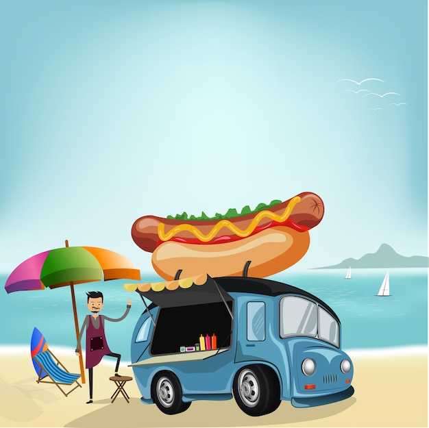 Design de caminhão de comida e chef dos desenhos animados na praia