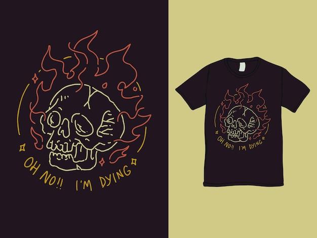 Design de camisa com caveira de chamas morrendo