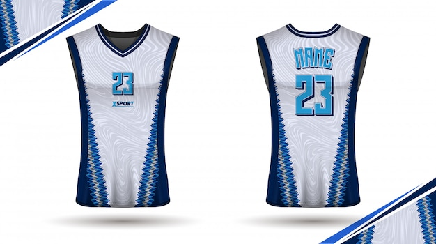 Design de camisa de basquete, frente e verso