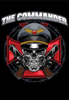 Design de camisa de design de comandante de caveira