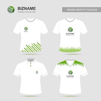 Design de camisa de empresa t com vetor de logotipo