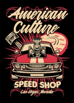 Design de camisa de loja de velocidade de muscle car americano