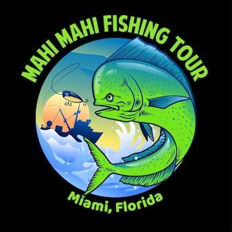 Design de camisa de pesca mahi mahi
