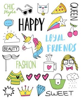 Design de camisa de t bonito com slogan e vários objetos