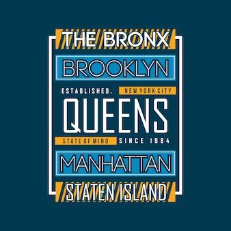 Design de camisa de t de brooklyn tipografia