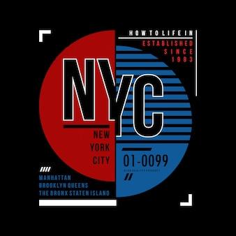 Design de camisa de t de tipografia de nyc