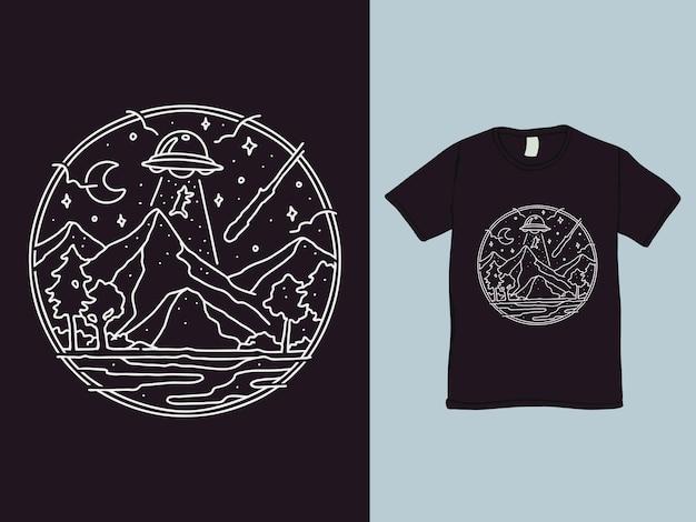 Design de camisa monoline de rapto de ovni