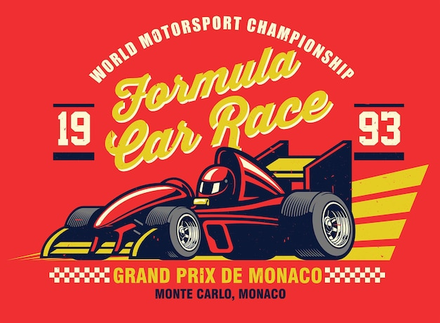 Design de camisa vintage de carro de corrida de fórmula