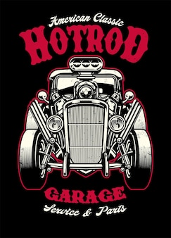 Design de camisa vintage de carro hotrod com motor grande