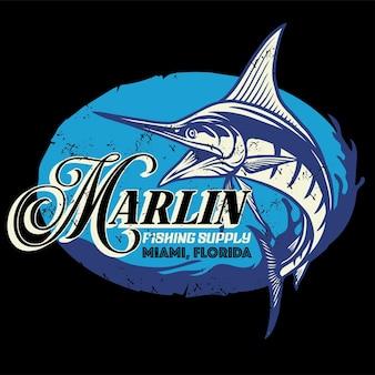 Design de camisa vintage de peixe marlin com textura grunge