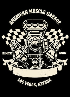 Design de camisa vintage do motor de muscle car americano