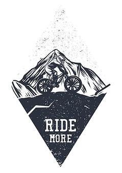 Design de camiseta - ande mais com homem andando de mountain bike ilustração vintage