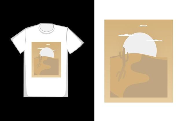 Design de camiseta areia do deserto à tarde
