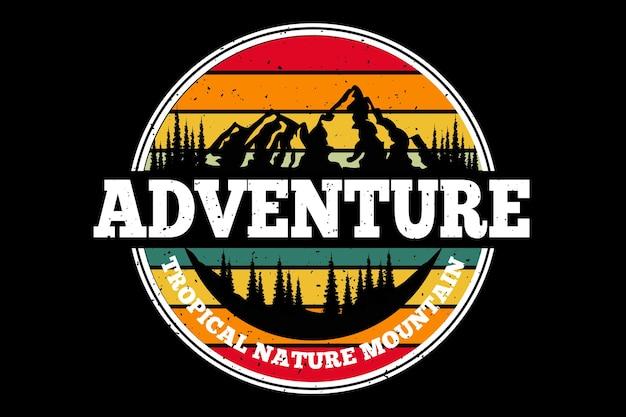 Design de camiseta com aventura na natureza tropical em pinheiro alpino retrô