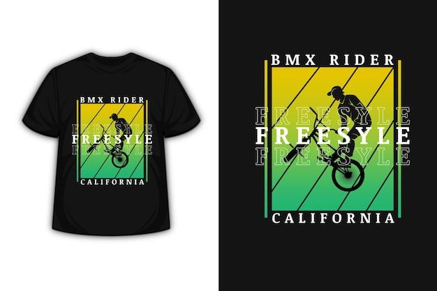 Design de camiseta com bicicleta motocross freestyle california em amarelo e verde