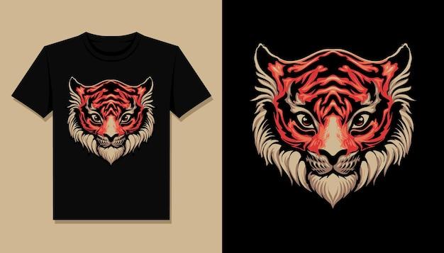 Design de camiseta com cabeça de tigre fofa