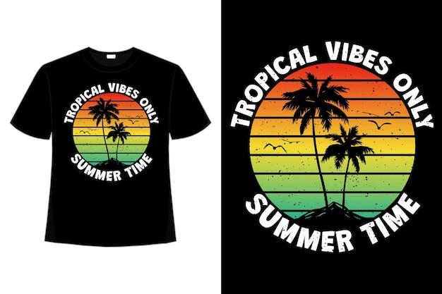 Design de camiseta com clima tropical de verão e cores do céu do pôr do sol da ilha em estilo retro