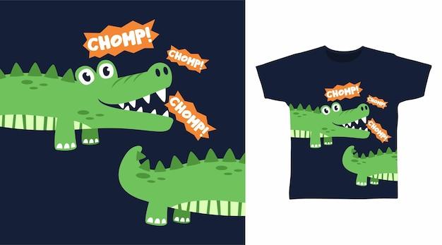 Design de camiseta com crocodilo fofo