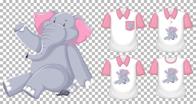 Design de camiseta com elefante sentado em diferentes posições