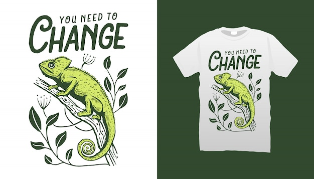 Design de camiseta com ilustração cameleon