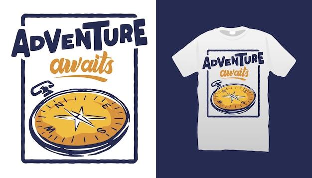 Design de camiseta com ilustração de bússola