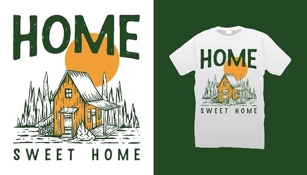 Design de camiseta com ilustração de cabine de madeira