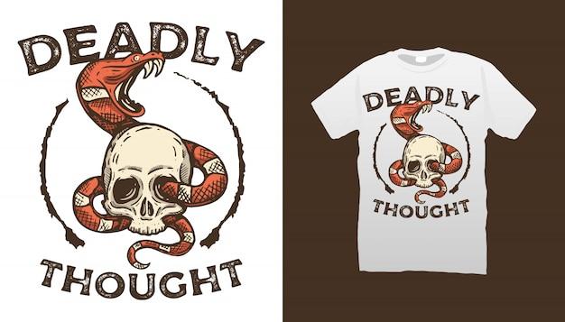 Design de camiseta com ilustração de crânio e cobra