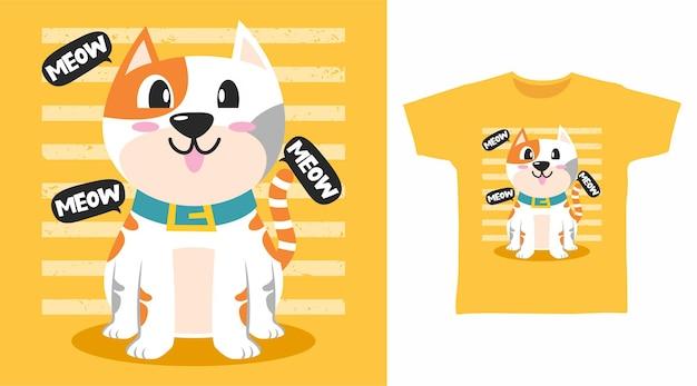 Design de camiseta com ilustração de gatinho fofo