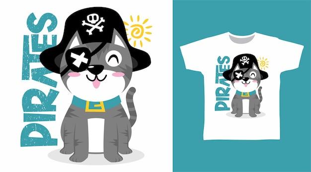 Design de camiseta com ilustração de gato piratas