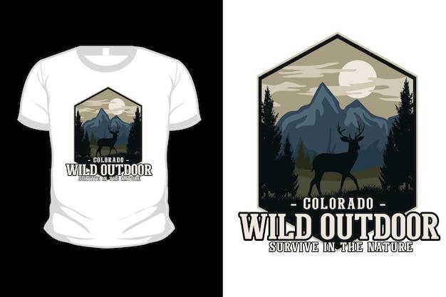 Design de camiseta com ilustração plana de natureza selvagem