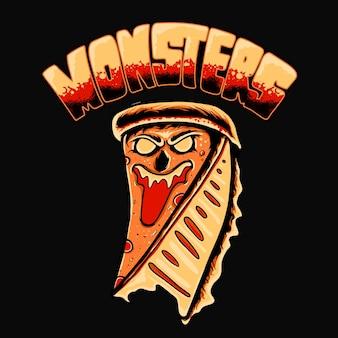 Design de camiseta com ilustração vetorial monster pizza premium