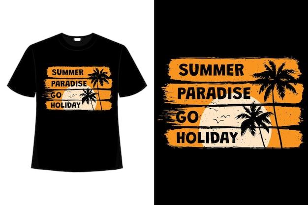 Design de camiseta com pincel de verão paraíso feriado pôr do sol em estilo retro