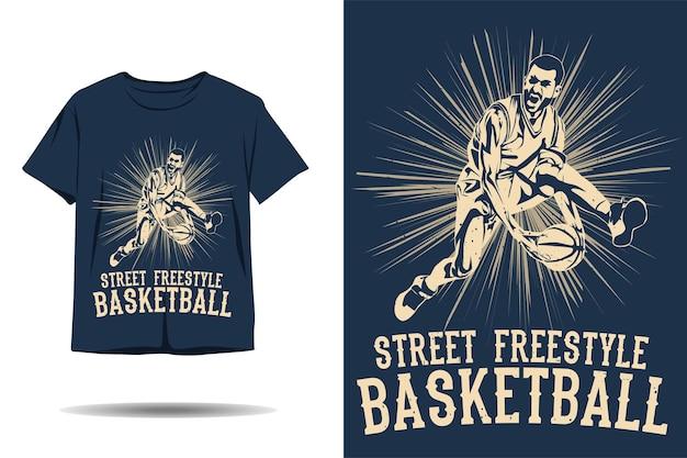 Design de camiseta com silhueta de basquete de estilo livre de rua
