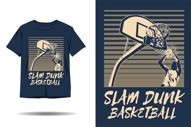 Design de camiseta com silhueta de basquete slam dunk