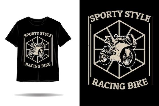 Design de camiseta com silhueta de bicicleta de corrida