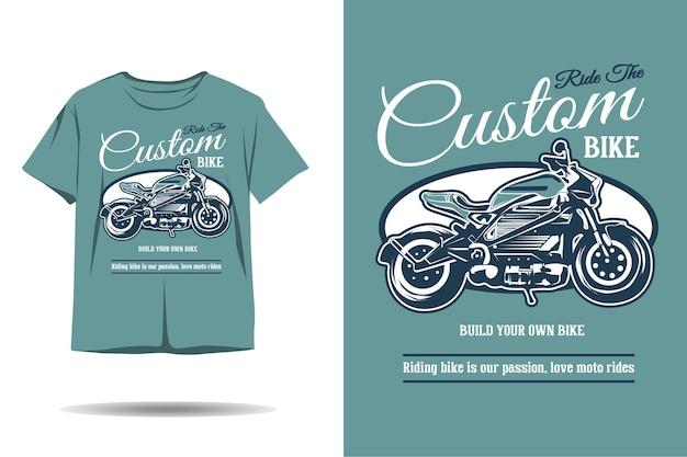 Design de camiseta com silhueta de bicicleta personalizada