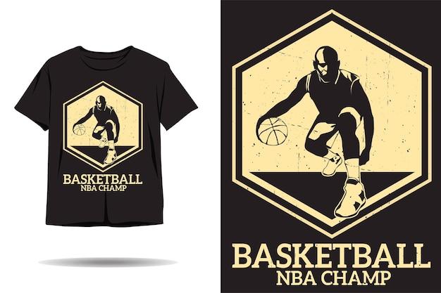 Design de camiseta com silhueta de campeão de basquete