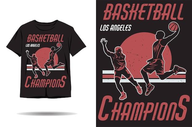 Design de camiseta com silhueta de campeões de basquete