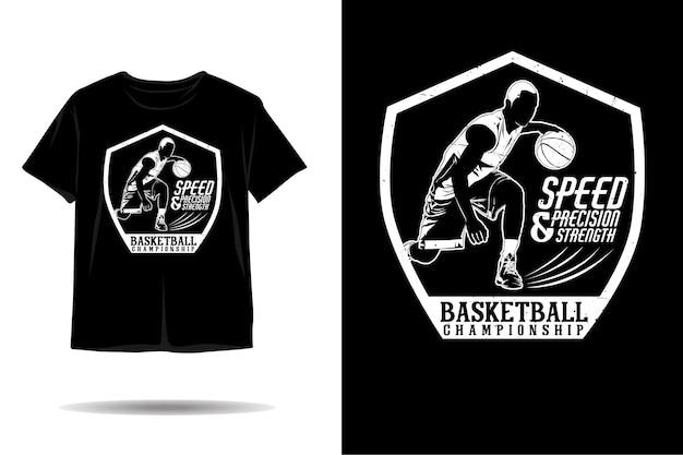 Design de camiseta com silhueta de campeonato de basquete