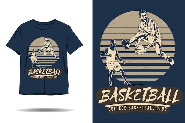 Design de camiseta com silhueta de clube de basquete universitário de basquete